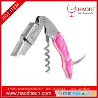 China Jade Resin Handle All-in-one Corkscrew Bottle Opener and Foil Cutter Red Color on sale