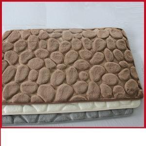 Quality Waterproof 3D Bathroom Floor Mats, Polyester PVC Brown Memory Foam Toilet Rug for sale