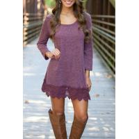 China Chic Lace Paneled A-line Dress For Women Long Sleeve Casual Dress on sale