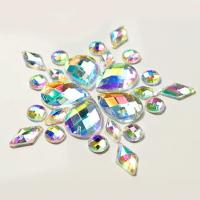 Colorful Pear Shaped Sew On Glass Crystals , Extremely Shiny Sew On Gemstones