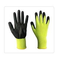 China Fluorescent Yellow Polyester Lined Industrial Work Gloves on sale