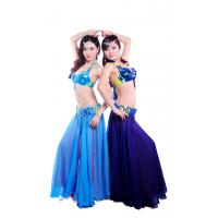 China Tie dye shinning beaded professional belly dance costumes with circle buckles design on sale