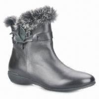 Quality New style women's dress boots, genuine leather upper, real fur collar, pigskin lining for sale