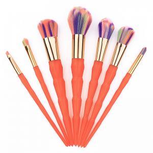 Quality 7 Pcs Orange Thread Face Makeup Brush Kit Nylon Hair Material for sale