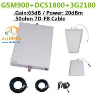 China 65dB GSM DCS 3G 900 1800 2100 MHz Tri Band Cellular Phone Signal Booster Repeater Amplifier+LPDS+Panel Antenna+15m 7D-FB on sale
