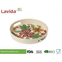 Quality Dishwasher Safe Bamboo Fiber Big Round Serving Tray With Christmas Pattern for sale