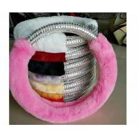 Quality Pink Fuzzy Steering Wheel Cover With Silver Plastic Diamond Customized Size for sale