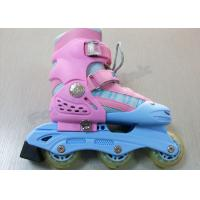 China Adjustable Pink Girls 3 Wheel Inline Skating Shoes with Aluminum Blue Chassis on sale