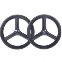 Quality Custom Made 700c Carbon Track Bike Wheels Front Rear New Basalt Surface Clincher 23 Width for sale