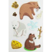 Quality Fuzzy Puffy custom book Stickers For Kids / Cute Little Bear desk Stickers for sale