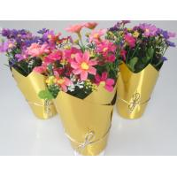 Buy cheap Metallic Film Handmade Flower Pot Covers for Decorative , Flower Packaging Bags from Wholesalers
