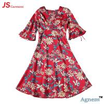 Quality 89D18026 New 15Dollor Summer Fashion V-Neck Half Sleeve Floral Print Women High Waist Beach Dress for sale