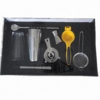 Quality 10-piece stainless steel barware set, including useful barware tools packed in PVC box for sale