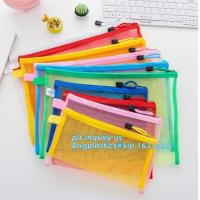 Quality Office Stationery Mesh Bags With Slider Zipper, expanding file/folder/File cover/documents pouch carry bag for sale