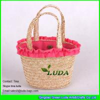 China LUDA cute kids beach handbags natural lace wheat straw small bags on sale