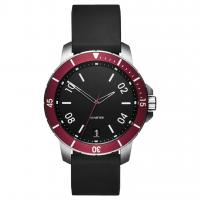 Quality Waterproof Simple Luxury Watches , Understated Mens Watches Black Silicone Strap for sale
