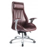 Quality Executive Style Brown PU Leather Office Chair With Casters High Durability for sale