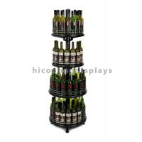 China Adjustable Wine Shop Display Fixture 4-Layer Retail Wine Display Tower Round Shape on sale