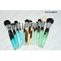 Wooden Handle Makeup Cosmetic Brush Set Synthetic Hair Aluminum Ferrule Material for sale