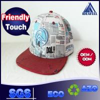 Buy Woven Label Black / Red Mens Baseball Caps Distressed Printed Tapes 7 - Hole Plastic Closure at wholesale prices
