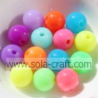 China 6-20MM Acrylic Round Fluorescence Color Beads Loose Spacer Beads Charms on sale