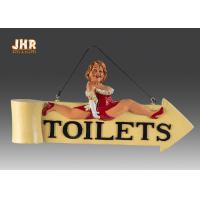 China Funny Fat Lady Toilet Direction Signs Decorative Polyresin Figurine Wall Hanging Sign on sale