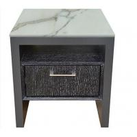 Quality Stone Top Night Stands Oak Wood For Hotel Bedroom , Metal Brushed Handle for sale
