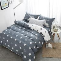 Grey And White Polyester Home Bedding Sets Embroidered Printed Queen Size