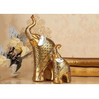 Quality Animal Resin Decoration Crafts , Gold Color Elephant Figurine Statue for sale