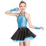 Quality Fancy Girls Jazz Dance Dress Spandex Fabric Bodice With Rhinestones Chocker Collar for sale
