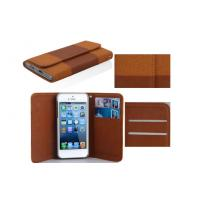 China Brown iPhone 5c Leather Wallet Cell Phone Case With Classical Envelope Design and Splicing Design on sale