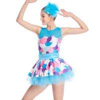 China Bubble Prints Competition Dance Wear Sleeveless Bodice Knee Length jazz dance competition costumes on sale