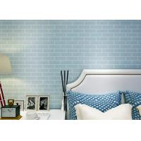 Buy cheap Blue Pre - Pasted Self Adhesive Wall Covering Non Woven / 3D Brick Wallpaper , CE Standard from wholesalers