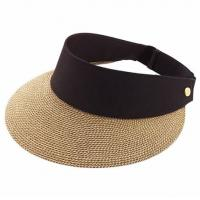 China Packable Roll Up Wide Brim Ladies Straw Visor Hats For Outdoor Protecting on sale