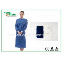 Quality XL SMS Nonwoven Disposable Surgical Gowns with Knitted Wrists , CE ISO for sale