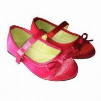 Quality Children's satin shoes/kids shoes, fabric lining, in various colors, designs and styles for sale