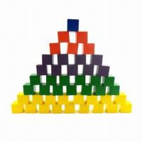 Quality 100pcs Colored Wooden Building Blocks, without Any Harmful Chemical, OEM Orders are Welcome for sale