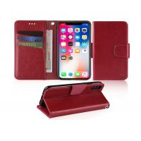 Wine Red 5.85 Inches Apple iphone Leather Case With Credit Card Pockets