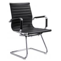 Quality Black Leather Office Meeting Chairs Mid Back Puncture Proof ISO Approval for sale