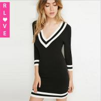 Buy Navy winter new European style fashion sexy deep V sweater dress package hip knit dress at wholesale prices