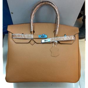 China high quality 40cm camel litchi leather handbags newest fashion ladys handbag L-RB5-2 on sale