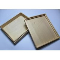 Quality Custom Logo Wooden Wedding Photo Album Box , Wooden Photo Box With Hinged Lid / Lock for sale