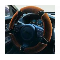 Quality Non Smell Fuzzy Car Steering Wheel Covers Easy To Install Coffee / Black Color for sale