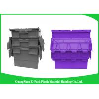 Customzized Plastic Moving Boxes Attached Lid Containers For Warehouse