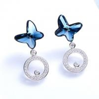 Buy cheap Women Crystals 925 Sterling Silver Earrings Butterfly Shaped 1.8 * 0.8cm from wholesalers