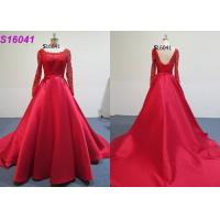 China Red Female Wedding Dress Long Sleeves Inspiration Designs Brides Wearing on sale