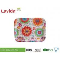Quality 13 Inch Bamboo Fiber Tray , Plastic Rectangular Tray Customized Colorful Flower Design for sale