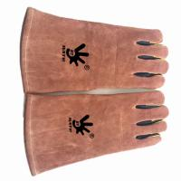 China cow split leather heat resistant gloves BBQ grill leather working gloves for sale