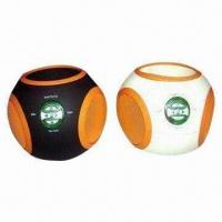 Quality Portable Speakers, Ball-shaped with 3.5mm Audio Cable, Made of ABS, Folding Shield Design Available for sale