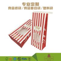 Quality Eco-friendly material custom design popcorn packing window kraft paper bag with tin tie for sale